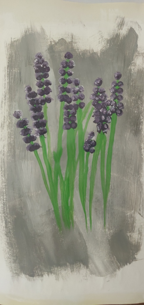 Lavender by Aditya, 2020. Acrylic on paper. This is actually my third painting.